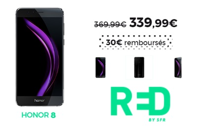 Le Honor 8 en promo à 340€ chez RED BY SFR