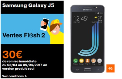 Vente Flash Orange : le Samsung Galaxy J5 à 199.90€ sans abonnement