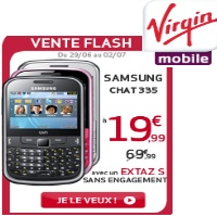 vente flash virgin mobile sur le samsung chat335 sans engagement. Black Bedroom Furniture Sets. Home Design Ideas
