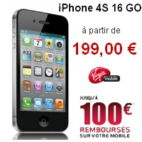 l 39 iphone 4s 16go 99euros chez virgin mobile. Black Bedroom Furniture Sets. Home Design Ideas