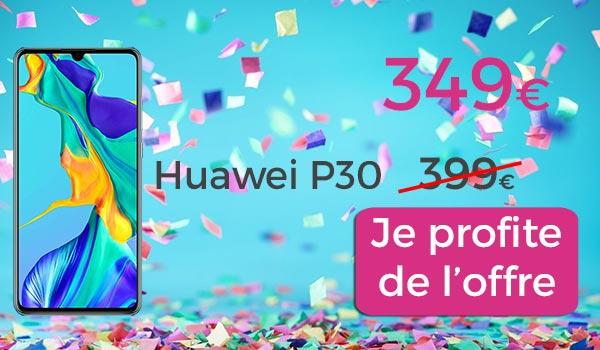 huawei p30 en promo sur fond de confettis