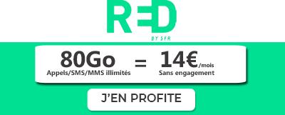 Bannière verte forfait en promo RED by SFR 80Go