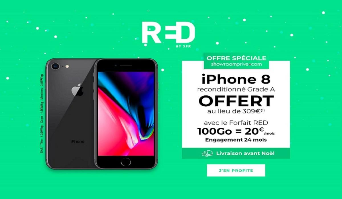 Vente privée: un iPhone 8 offert avec le forfait mobile RED 100Go