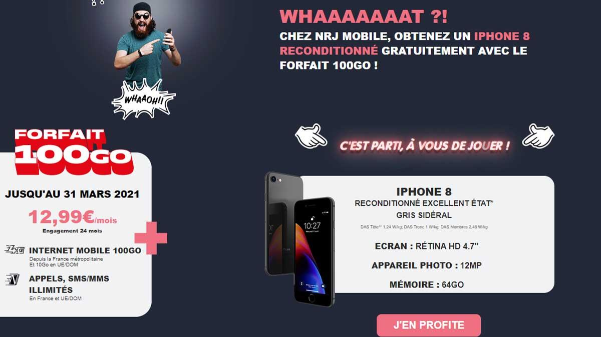 Fin de la promo iPhone 8 offert avec un forfait 100Go à seulement 12.99€