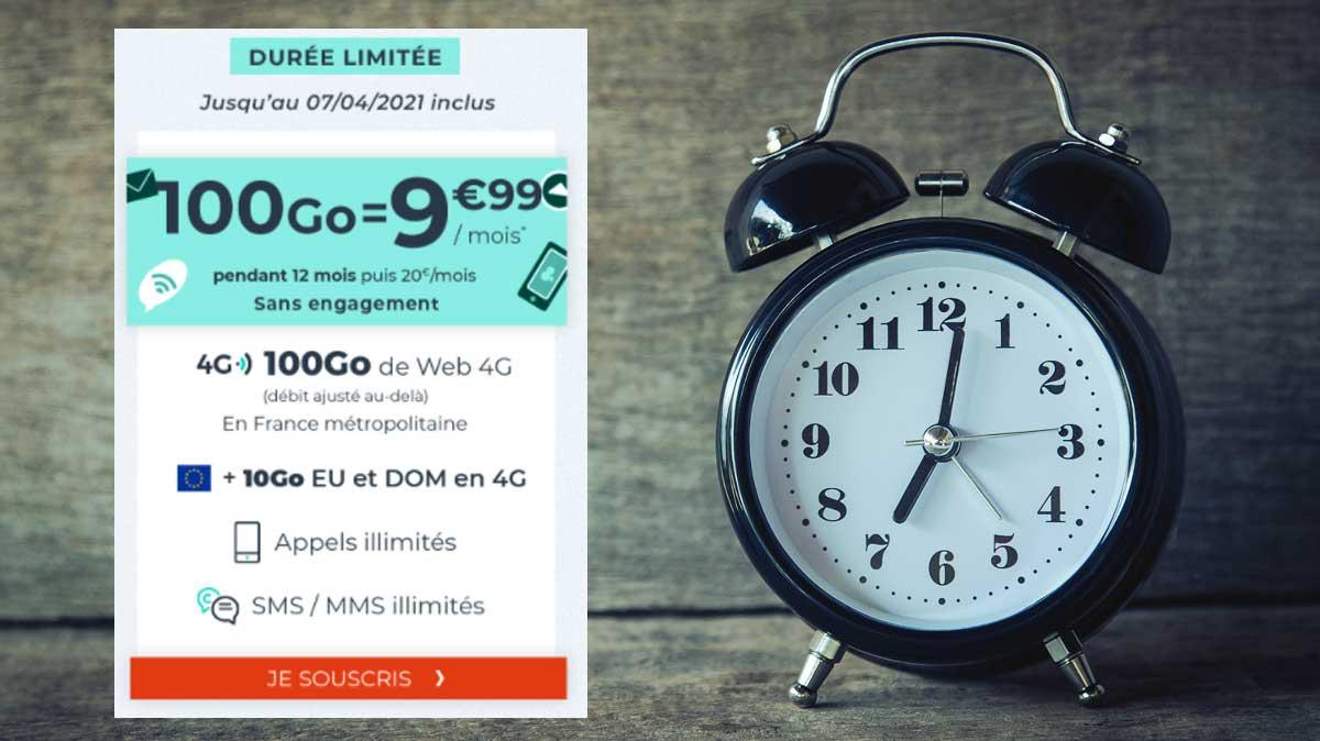 Forfait pas cher : Dernières heures pour la promo 100Go à moins de 10€