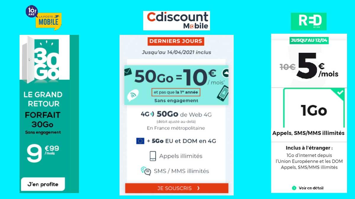 Les trois promos forfaits mobiles valables sans condition de durée à maxi 10 €