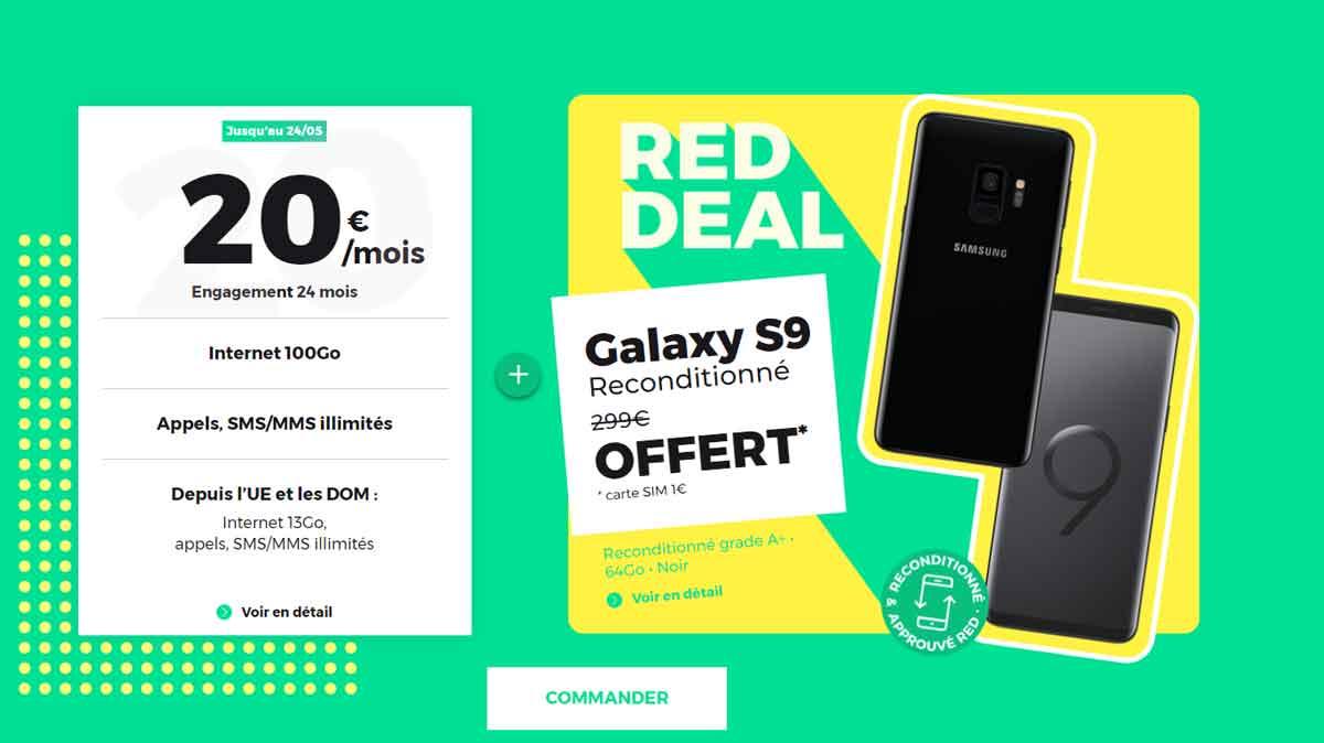 Dernier jour pour l'offre RED DEAL avec un Samsung Galaxy S9 reconditionné offert