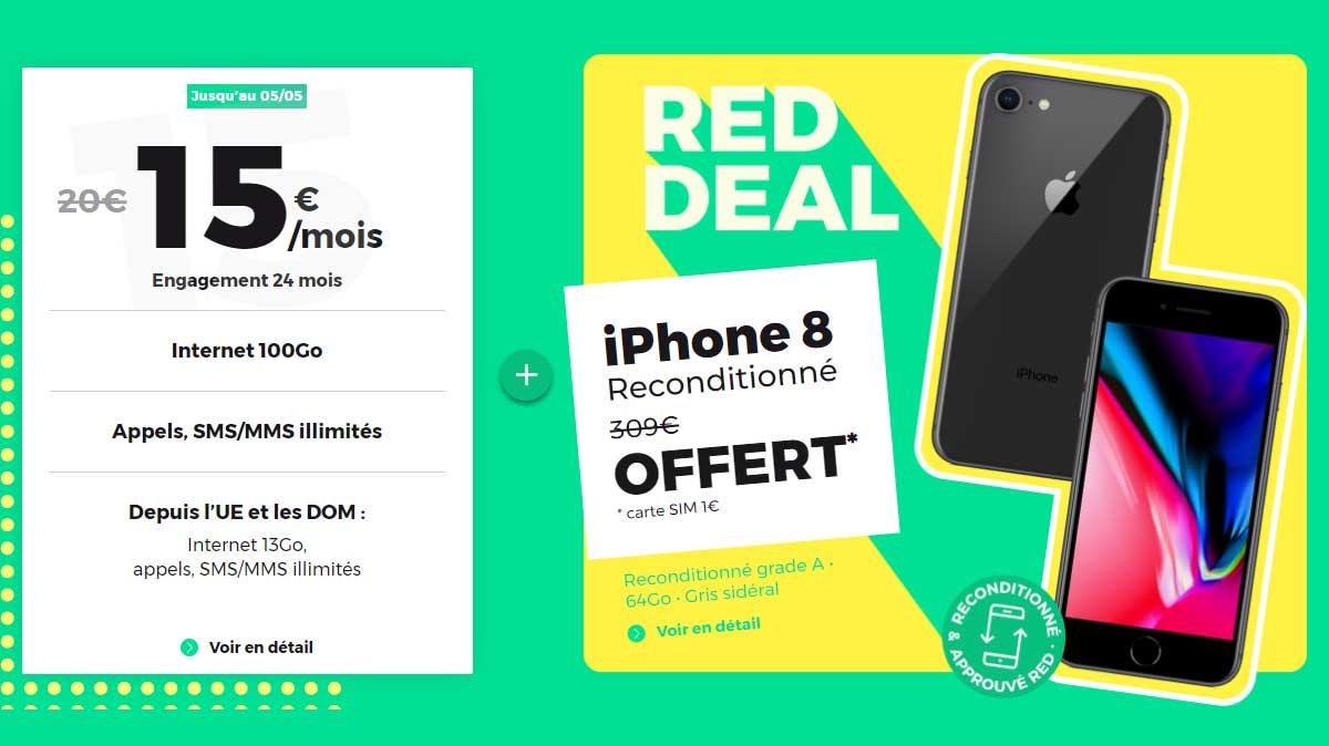 Fin du RED DEAL : iPhone 8 reconditionné offert avec le forfait RED 100Go