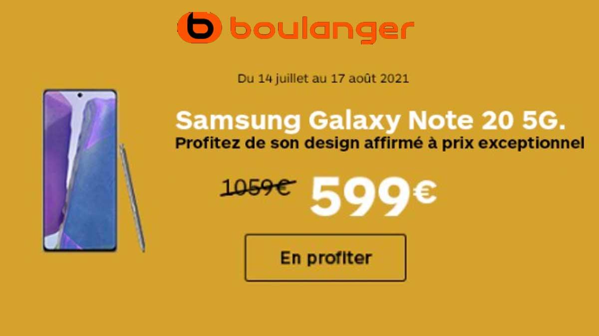 Alerte bon plan: le Galaxy Note 20 5G à 599 € au lieu de 1059 € chez Boulanger!