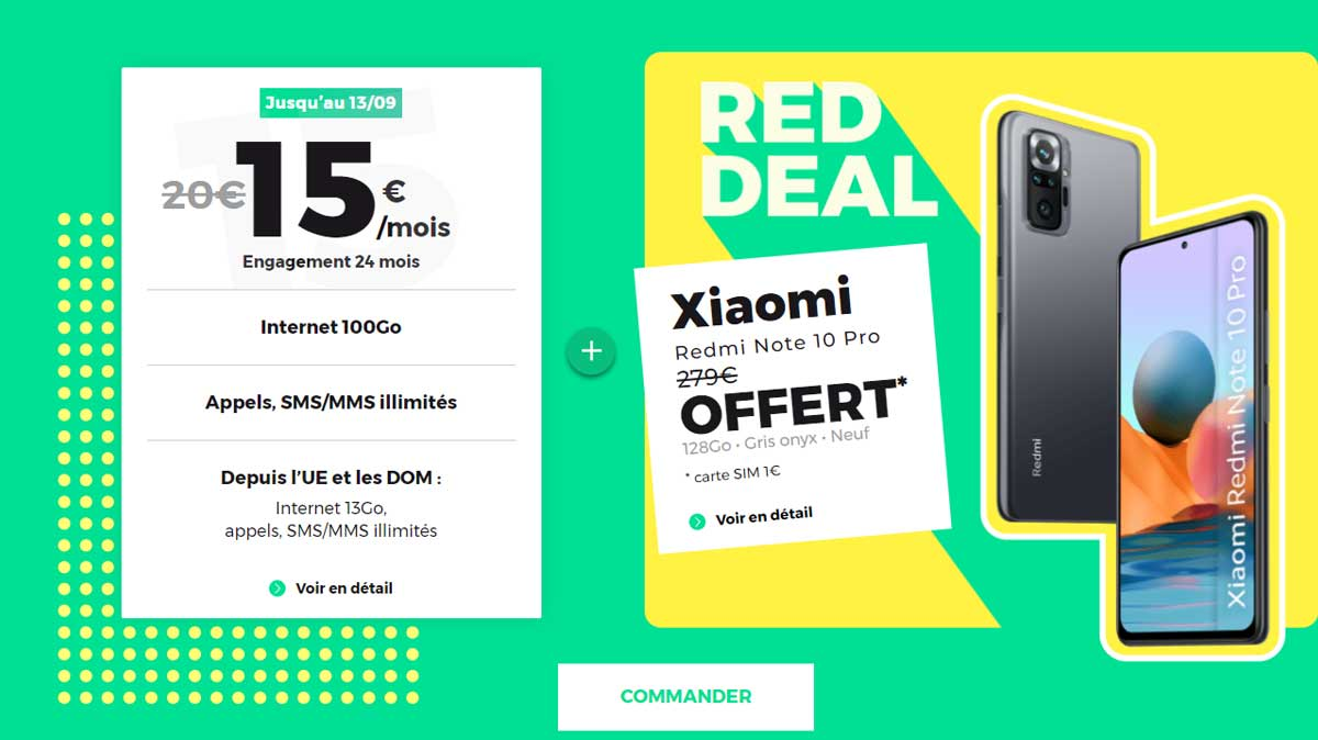 RED DEAL: le Xiaomi Redmi Note 10 Pro offert chez RED by SFR